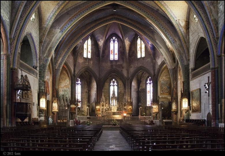 Aude 06 - Kerkinterieur van de kerk van Mirepoix.<br /> Even 1x klikken a.u.b.