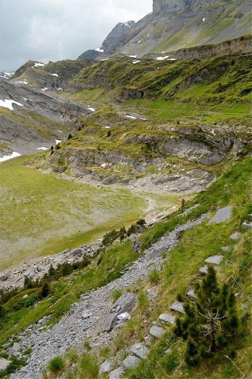 Alpendal - De zon strijkt over de met groen bedekte rotsen in een dal boven de boomgrens in de Alpen.