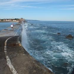 Zee slaat op pier