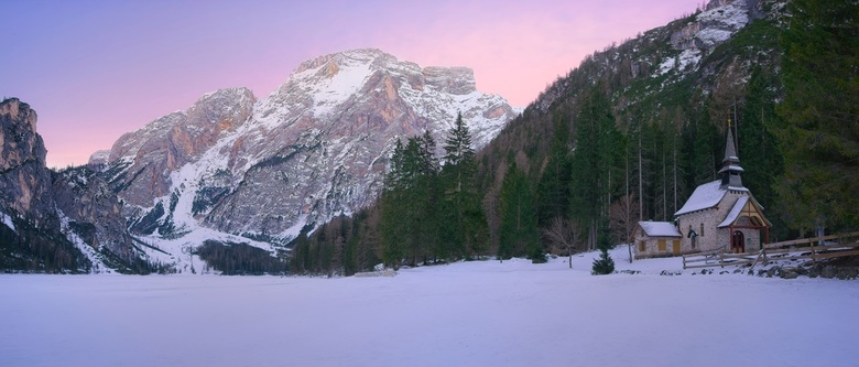 Lago di Braies Pano with Church - This winter we went to skiing in Val Pusteria, Dolomites. Our hotel location was perfect for some of the most iconic