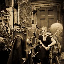 Foto-shoot op de Nieuwmarkt in Amsterdam
