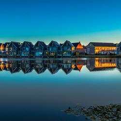 Reflectie huizen Skipsleat Joure
