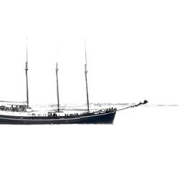 Lisbon Boat in B&W