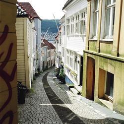 Heel leuk straatje in Bergen ( Noorwegen)