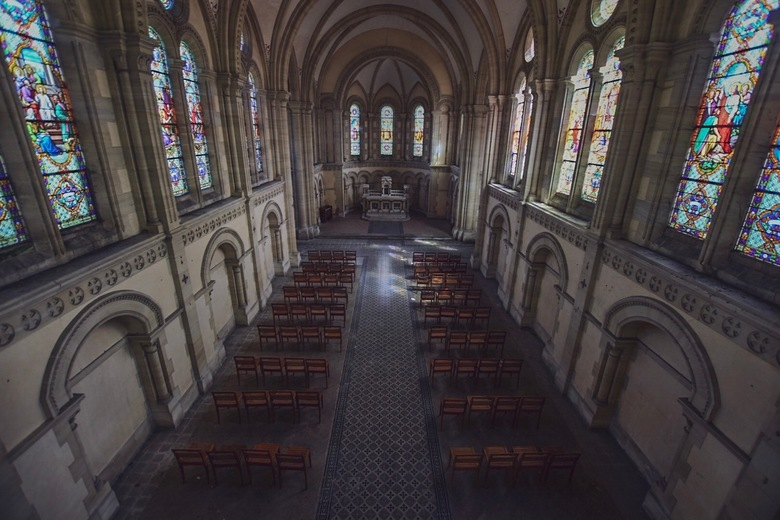 Abandoned church from above  -