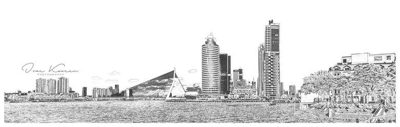 Rotterdam artist impression  - Een bewerking in PS6 van een paar jaar geleden. Een infrarood pano van Rotterdam kop van Zuid genomen vanaf de kade in