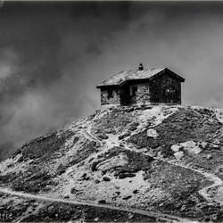 House on the hill Austria b&w