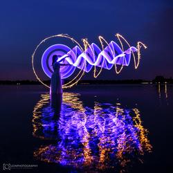 lightpainting in blue