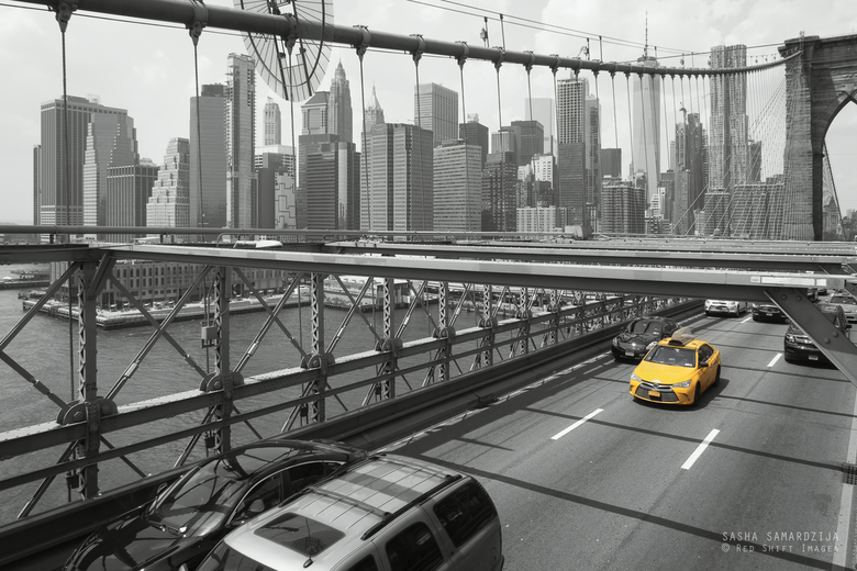 Yellow taxi on Brooklyn bridge  - Yellow taxi on Brooklyn bridge