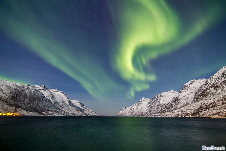 Nordlys, Ersfjordbotn - Aurora outbreak, January 2015.<br /> located at Ersfjordbotn near Tromso, Norway.<br /> <br />