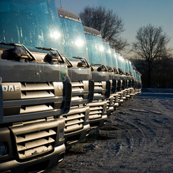 IJzig koude DAF vrachtwagens