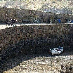 Crail, Schotland, visser en zijn hond
