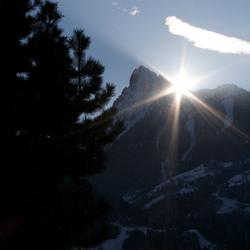 ZOnsondergang boven de Golm (Vandans Oostenrijk)