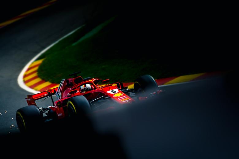 Sebastian Vettel in Spa Francorchamps - Sebastian Vettel tijdens de formule 1 in spa-francorchamps, België