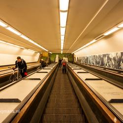 De roltrap van de Fietstunnel in Rotterdam