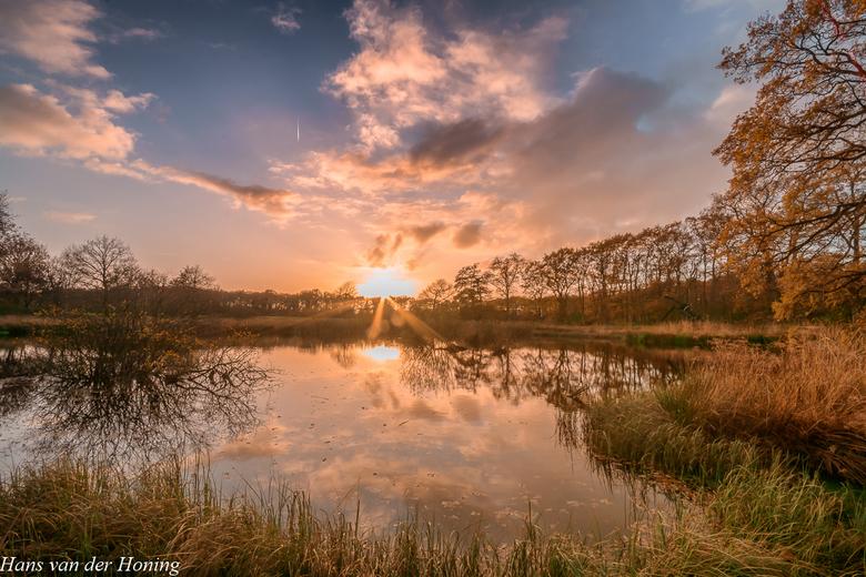 Zeijen, Bollenveen bij zonsondergang..