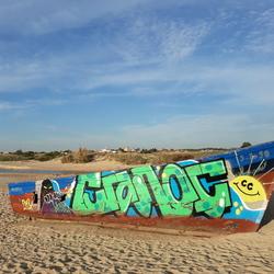Aangespoelde boot op het strand 2
