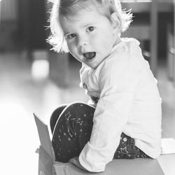 Little girl in a box