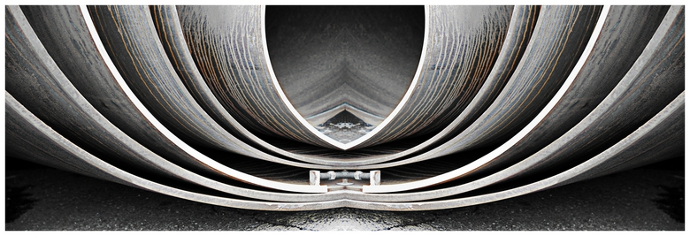 Steel pipes - Abstract reflection of steel pipes.