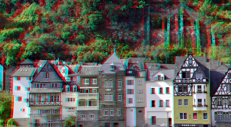 Cochem 3D - Cochem  Hyperstereo<br /> anaglyph stereo red/cyan<br /> 18-200 Nikkor  d7000 cha-cha