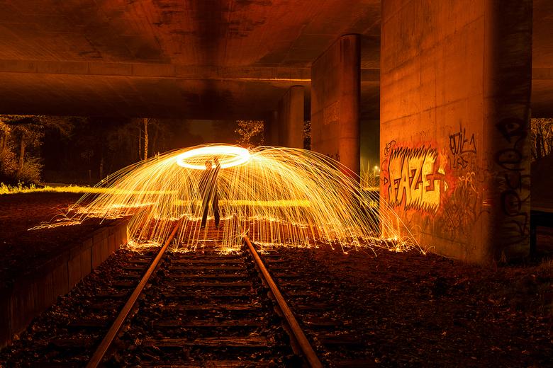Lightpainting - Een avond oefenen met staalwol en garde. De eerste keer dat we dit gingen doen en zeker voor herhaling vatbaar