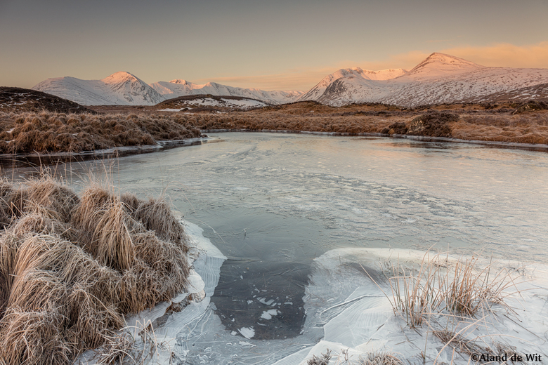 Cold as Ice - Zonsopkomst Ranch Moor, Scotland.<br /> <br /> iso 100<br /> F11<br /> 1/4 seconde<br /> 24mm<br /> <br /> Grijsverloop filter Le