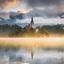 Zonsopkomt bij het meer van Bled