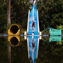 Roaming an empty waterpark
