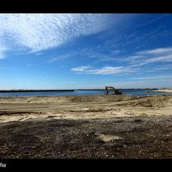Land opspuiten Maasvlakte