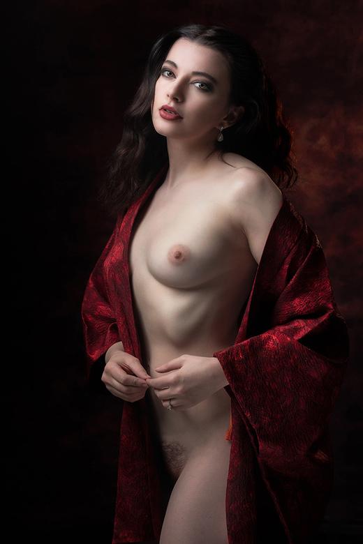 in scarlet cloak - Helen Diaz