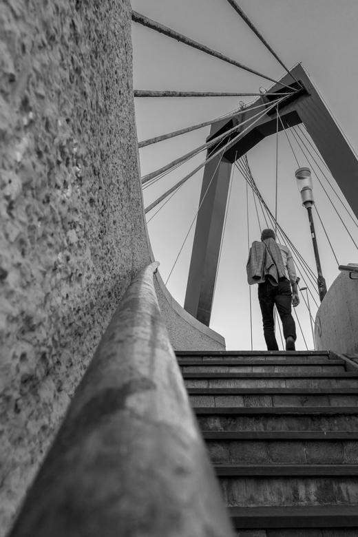 Walking in paradise - Willemsbrug Rotterdam. Ik ben altijd op zoek naar toffe standpunten....aardig gelukt vind ik zelf. Qua timing ook, deze man liep