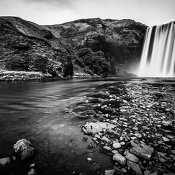 Skogafoss on black and white