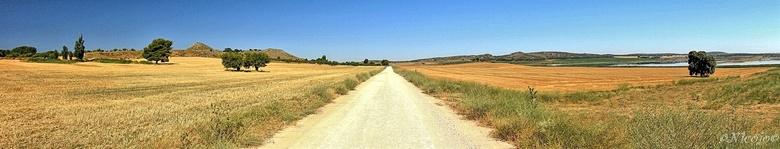 Pano Spaans landschap. - Rechts in de foto is de zoutlagune Salada Petrola waar de flamingo´s broeden en verblijven. In dit deel van Spanje wordt heel