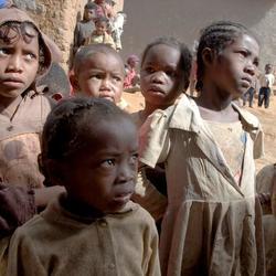 kinderen in het dorp verbazen zich
