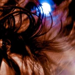 red hair in blue light
