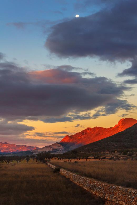 Moon looks over Red Valley - Tegenwoordig weer volop genieten van de kleurrijke ochtenden!<br /> Hondon de los Frailes<br /> Spanje