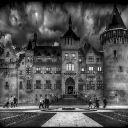 kasteel in b zwart-wit