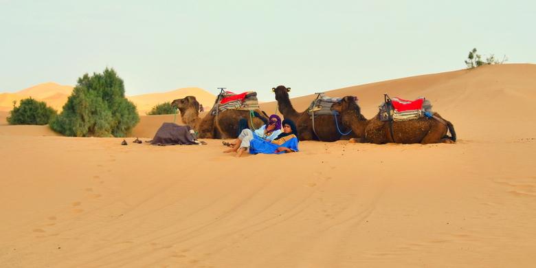 Berbers in de Sahara - Berbers in de Sahara bij Merzouga in Marokko