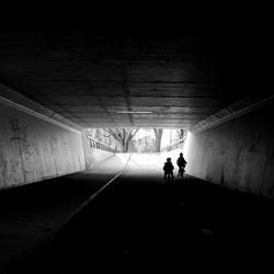 Silhouette - Bicycles under the bridge