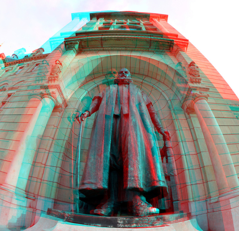 Stadhuis Coolsingel Rotterdam 3D - 3D anaglyph stereo red/cyan<br />