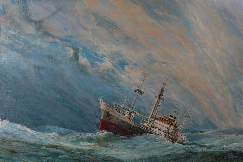 Atlantic - ms Ulysses,<br /> KNSM<br /> <br /> oil on canvas 2019