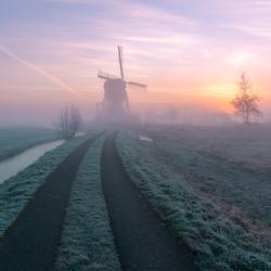 Foggy sunrise in the Netherlands
