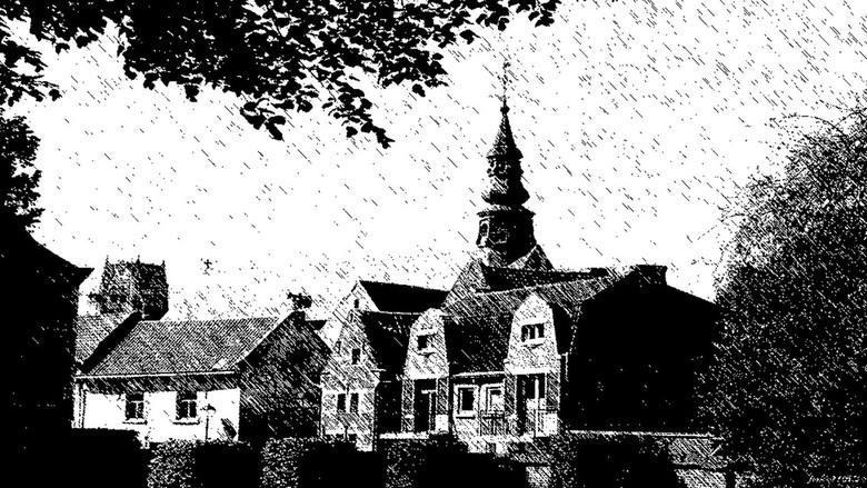 """DOORKIJKJE BEGIJNHOF TONGEREN - """"Doorkijkje van het begijnhof in Tongeren"""" in de regen."""