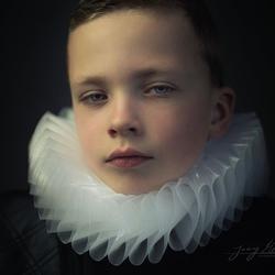 """Portret van Luc """"Rembrandt"""" stijl."""