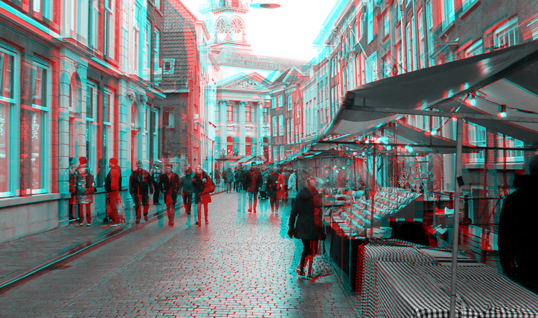 regen op kerstmarkt Dordrecht 2019 3D - regen op kerstmarkt Dordrecht 2019 3D