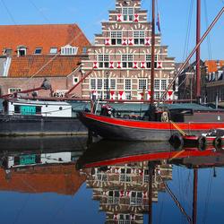 oud Leiden weerspiegeld