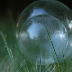 Zeepbellen die langzaam bevriezen