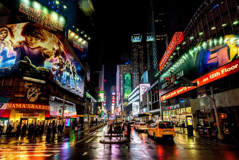 Time Square op een regenachtige dag - Het was een regenachtige dag, maar toen het in de avond droog werd moest ik langs Time Square om te zien of en h