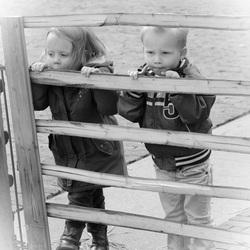 twee kids kijkend door het hek