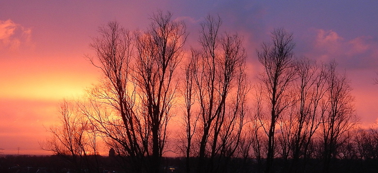Zonsopkomst - Vanmorgen was onze woonkamer verlicht door de rode Zonsopkomst. om 8.46.37 u. <br /> Snel deze foto gemaakt duurde maar paar minuten en